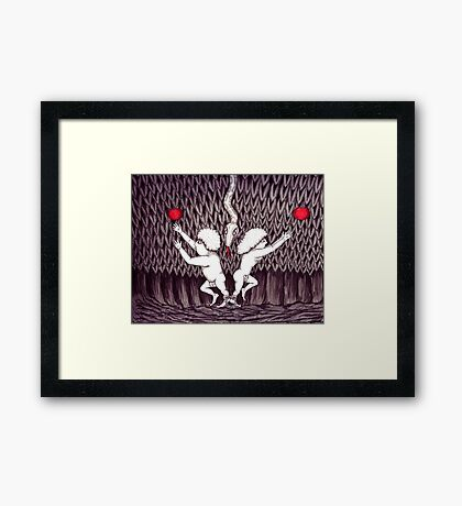Adam and Eve surreal black and white pen ink drawing Framed Print