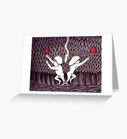 Adam and Eve surreal black and white pen ink drawing Greeting Card