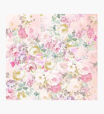 Chic retro pink white watercolor floral pattern Photographic Print