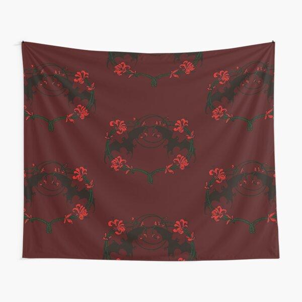 Halloween Goth Red Flowers Vampire Bats Tapestry