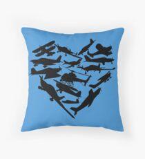Airplane Heart Throw Pillow