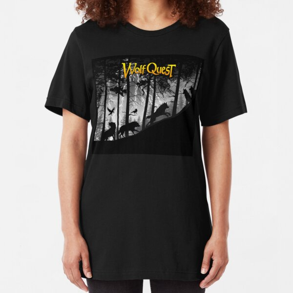 Wolf Pack in Storm - WolfQuest Dream Slim Fit T-Shirt