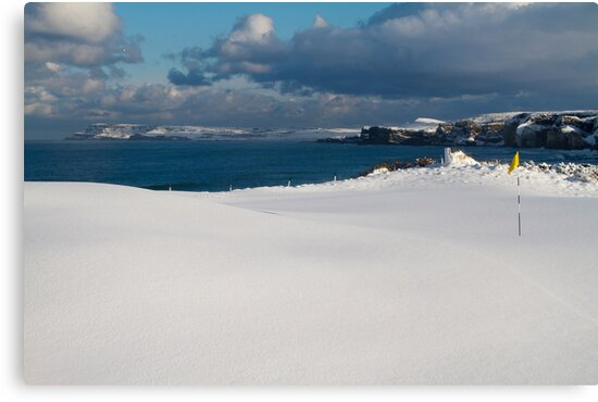 Royal Portrush Golf Club - 5th Green Under Snow by roomccrudden