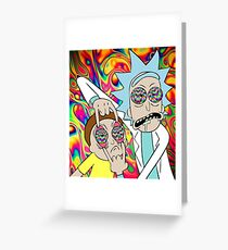 Rick and Morty Eyes Open Trip Greeting Card