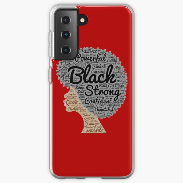 Black Woman Natural Hair Words In Afro Samsung Galaxy Soft Case