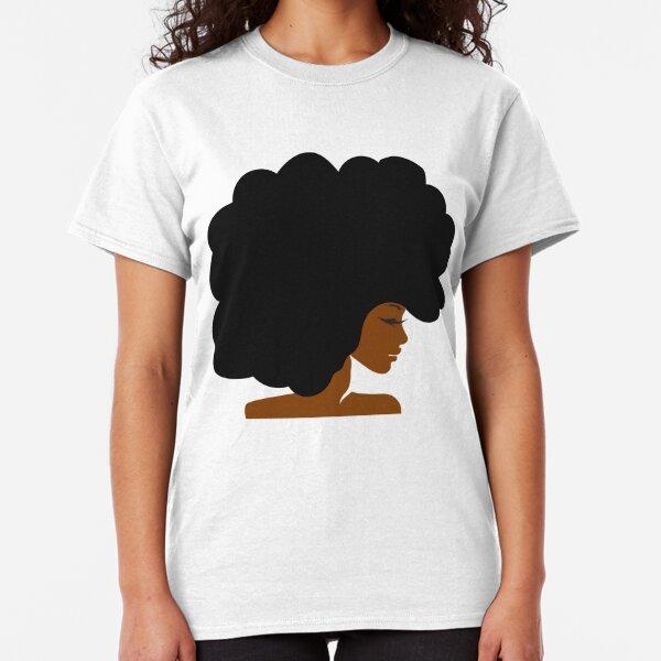 Big Curly Afro Natural Hair Black Woman Classic T-Shirt