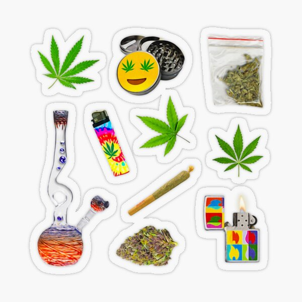 Stoner Weed and Essentials Sticker Sheet Bundle Pack ~ Collection Set 2 ~ Semi Transparent Transparent Sticker