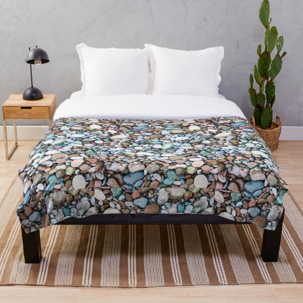 River Bed of Rocks and Pebbles Throw Blanket