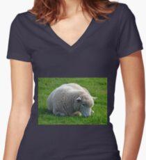Don't Be  Blue Little  Ewe....  Dorset UK Women's Fitted V-Neck T-Shirt