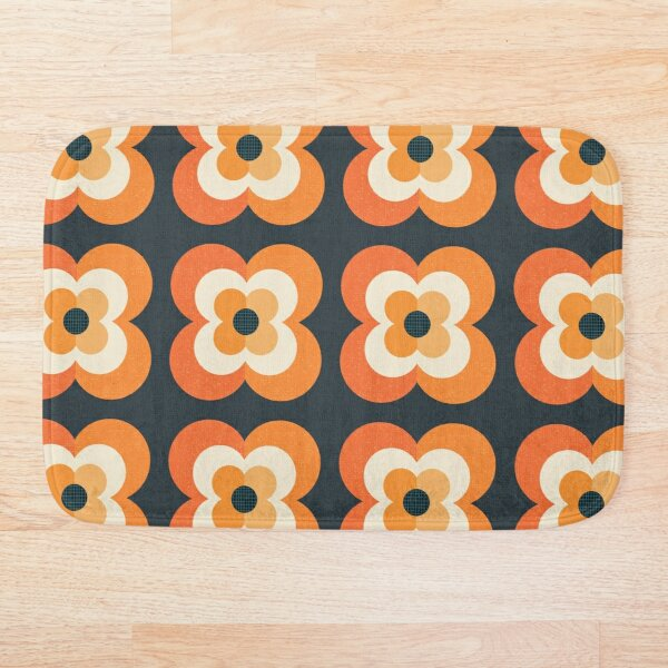 Retro Flowers - Orange and Charcoal Bath Mat