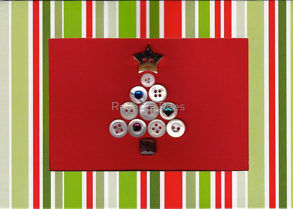 Christmas Tree Button Card by Rebecca Rees
