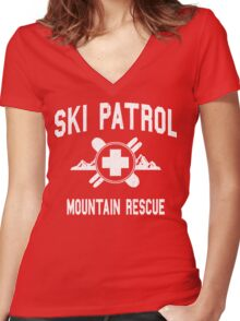 Ski Patrol & Mountain Rescue (vintage look) Women's Fitted V-Neck T-Shirt