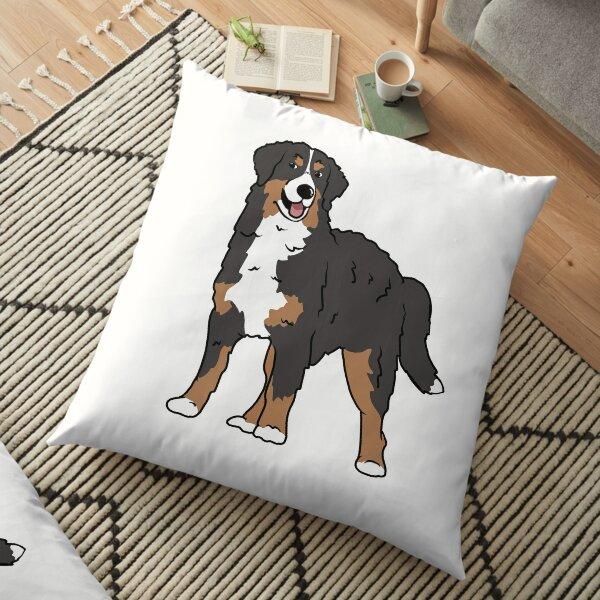 Bernese Mountain Dog Cartoon Illustration  Floor Pillow