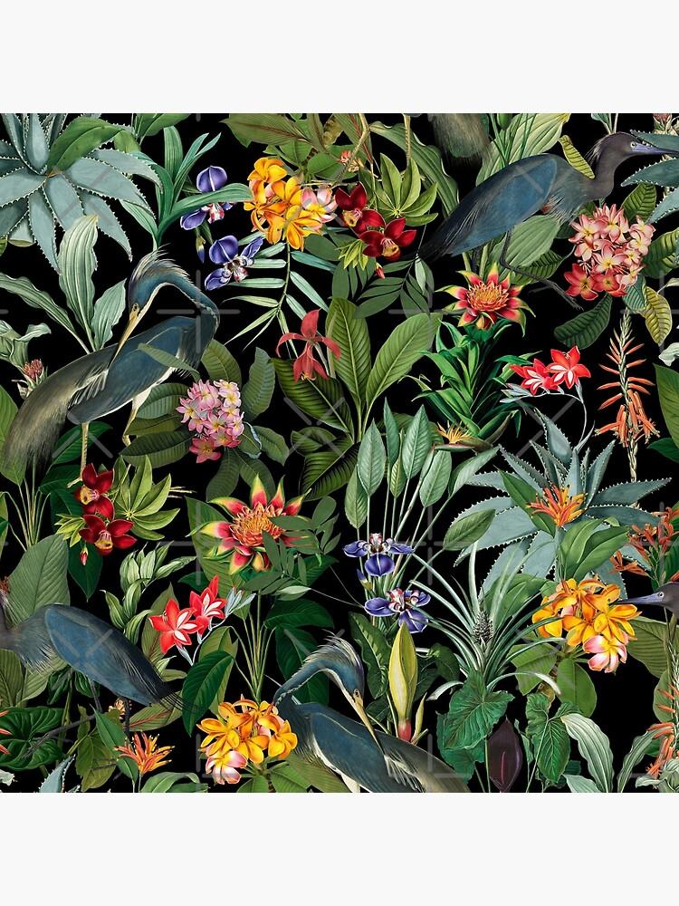 Vintage Pattern - Blue heron and tropical flowers  by UtArt