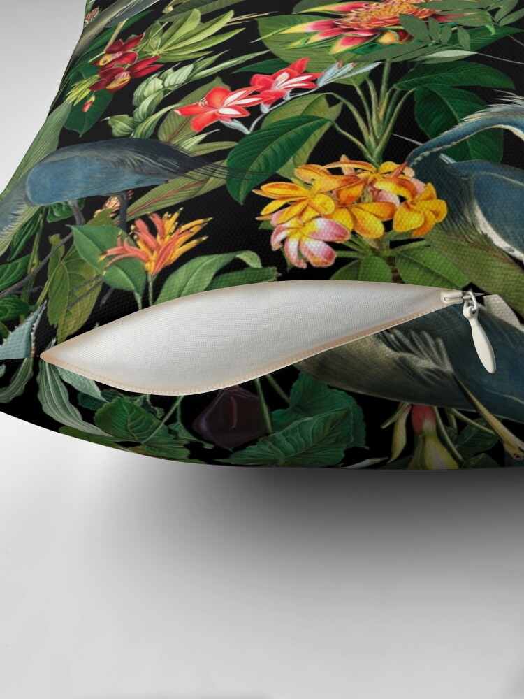 Alternate view of Vintage Pattern - Blue heron and tropical flowers  Throw Pillow