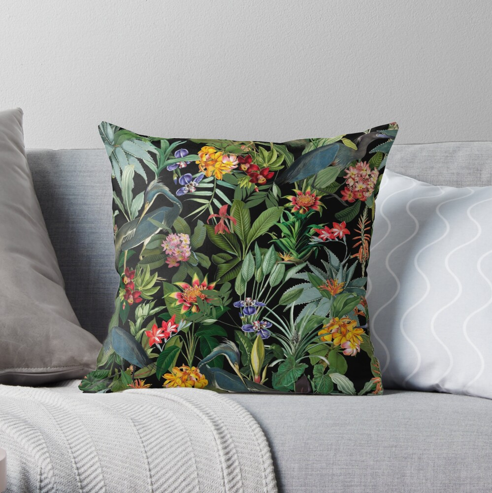 Vintage Pattern - Blue heron and tropical flowers  Throw Pillow
