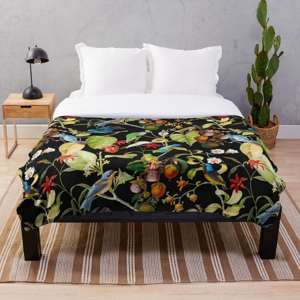 Vintage tropical sing birds and fruits pattern black Throw Blanket
