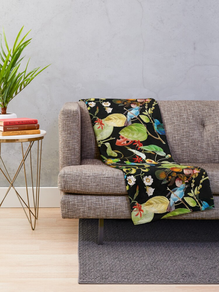 Alternate view of Vintage tropical sing birds and fruits pattern black Throw Blanket