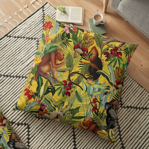Motif jungle tropicale de singe - jaune Coussin de sol