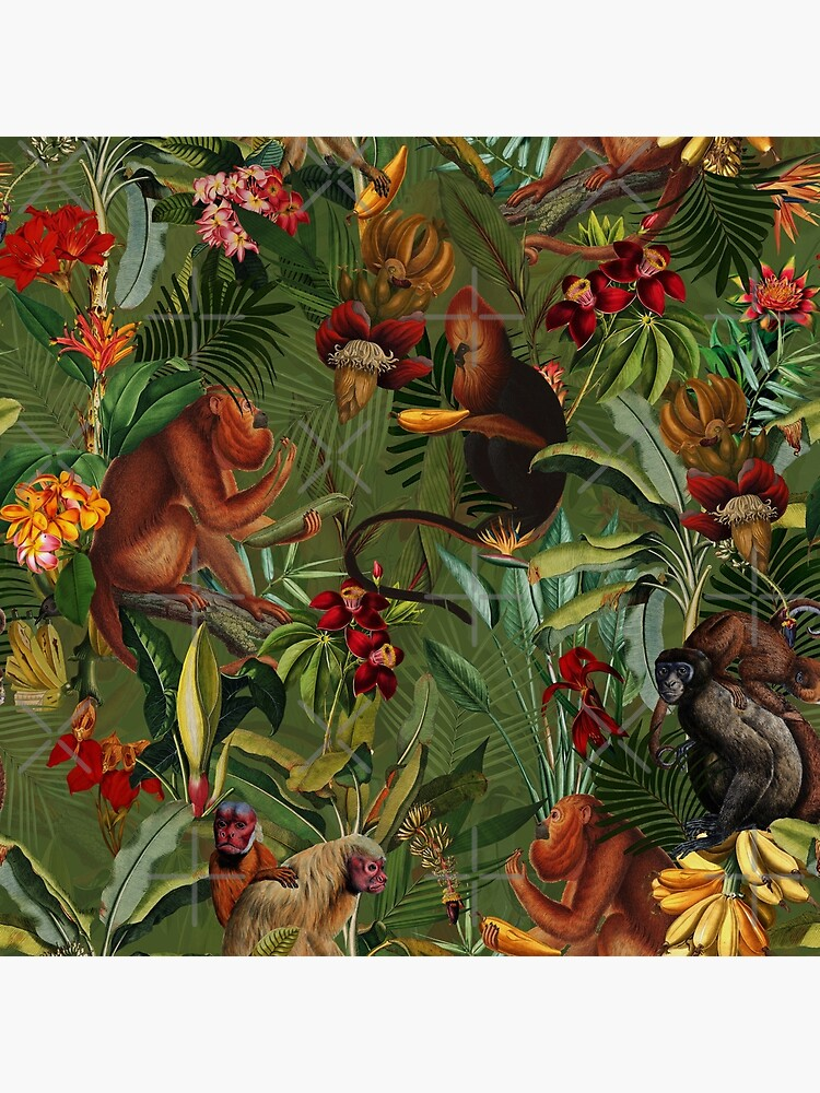 Tropical monkey jungle pattern - dark green by UtArt
