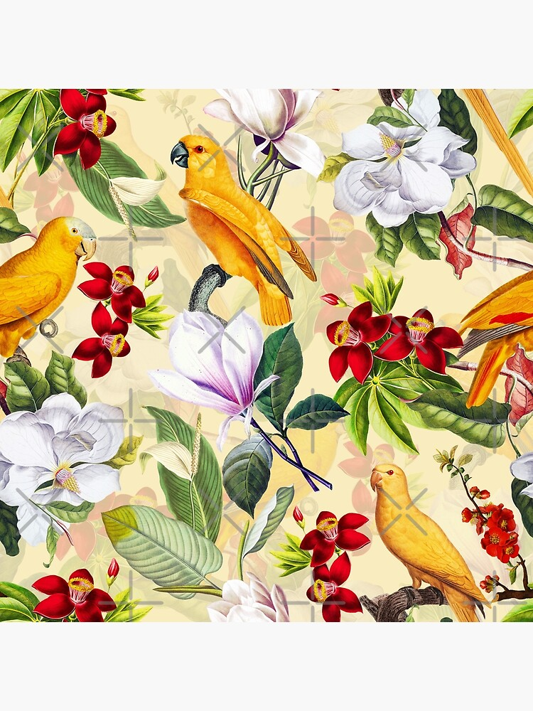 Vintage Parrot Tropical Jungle Pattern Yellow by UtArt