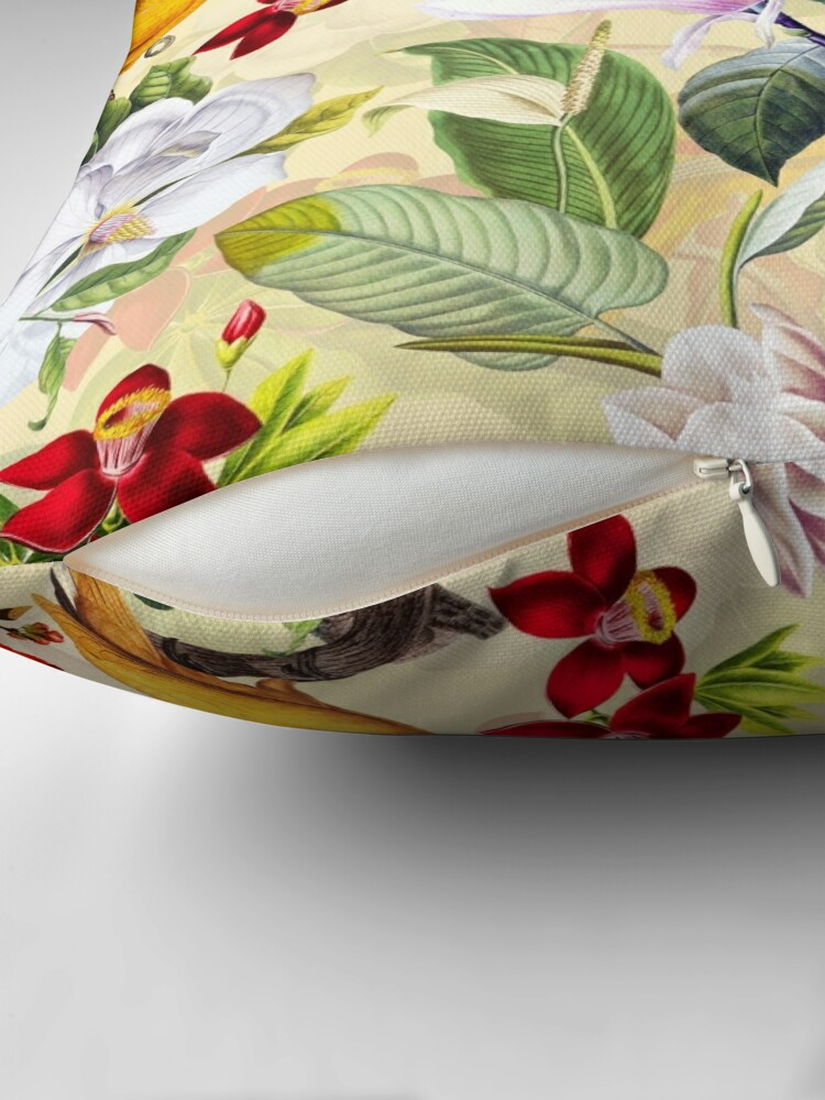 Alternate view of Vintage Parrot Tropical Jungle Pattern Yellow Throw Pillow