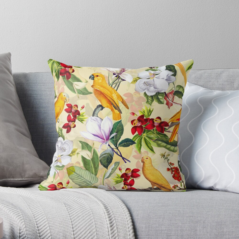 Vintage Parrot Tropical Jungle Pattern Yellow Throw Pillow