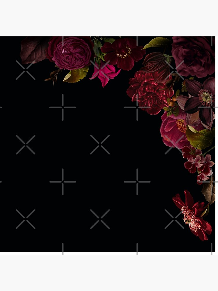 Antique dark red roses and other flowers on black  by UtArt