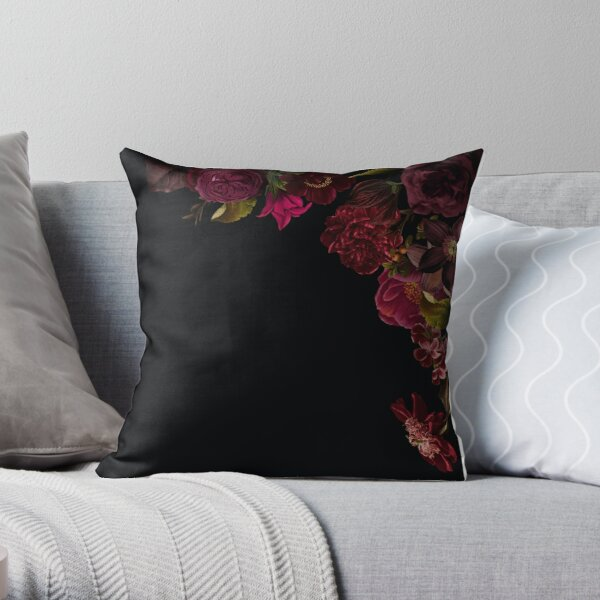 Antique dark red roses and other flowers on black  Throw Pillow