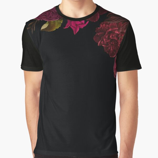 Antique dark red roses and other flowers on black  Graphic T-Shirt