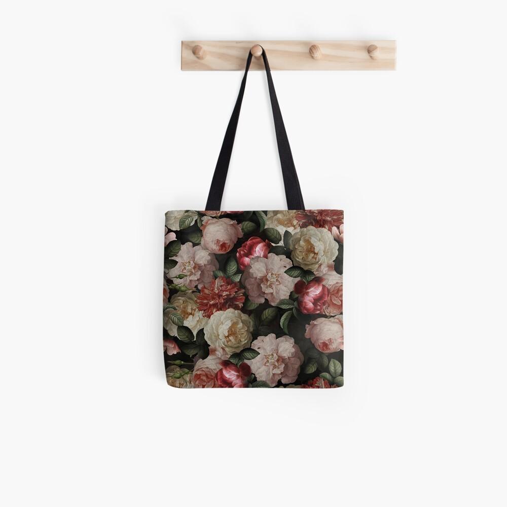 Antique Jan Davidsz. de Heem Lush Roses Flowers On Black Pattern Tote Bag