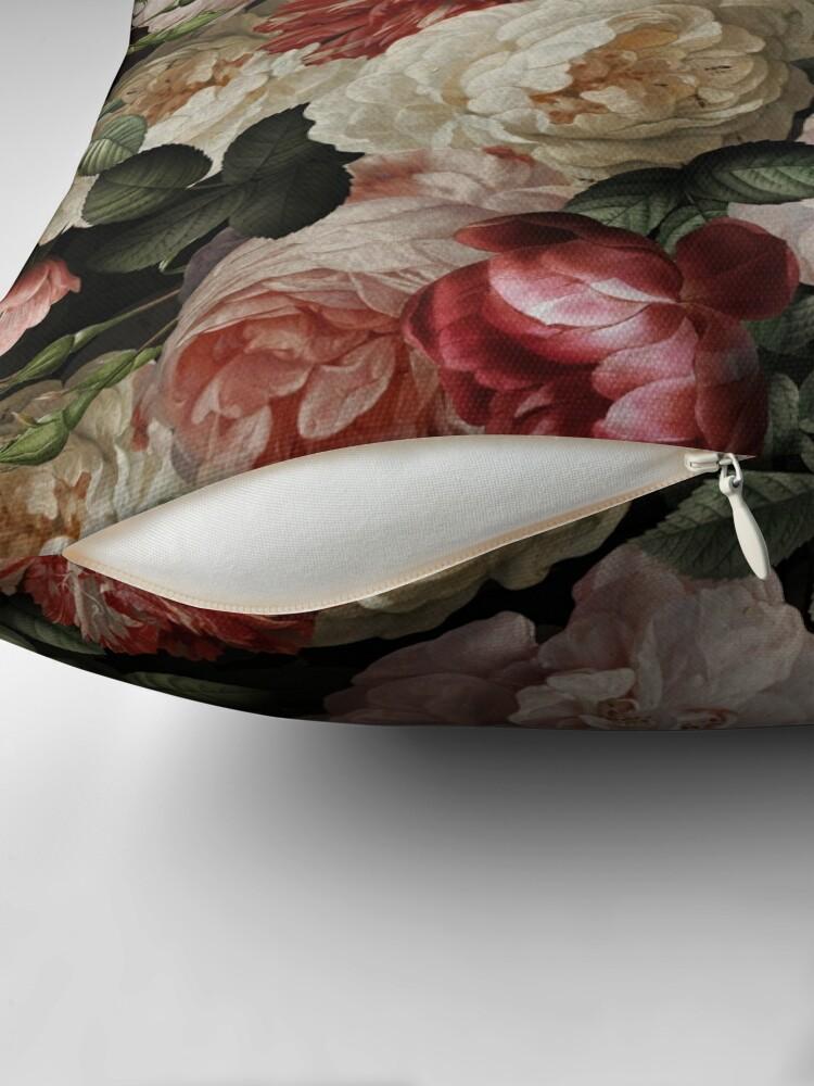 Alternate view of Antique Jan Davidsz. de Heem Lush Roses Flowers On Black Pattern Throw Pillow