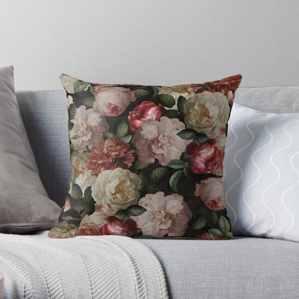 Antique Jan Davidsz. de Heem Lush Roses Flowers On Black Pattern Throw Pillow