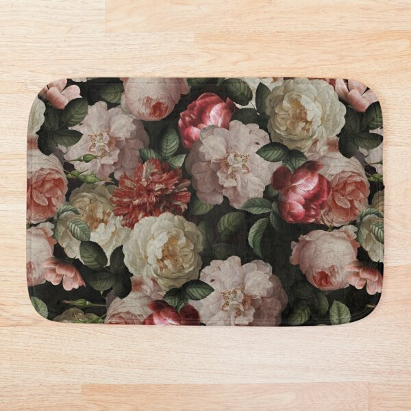 Antique Jan Davidsz. de Heem Lush Roses Flowers On Black Pattern Bath Mat