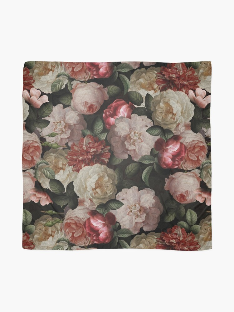 Alternate view of Antique Jan Davidsz. de Heem Lush Roses Flowers On Black Pattern Scarf