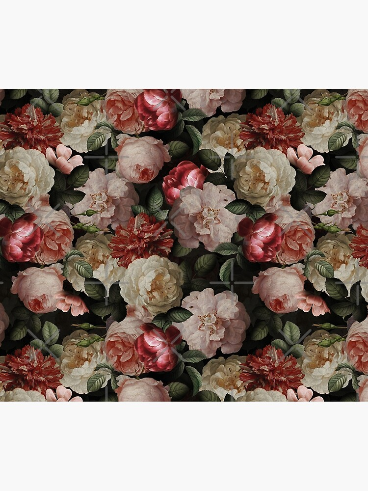 Antique Jan Davidsz. de Heem Lush Roses Flowers On Black Pattern by UtArt