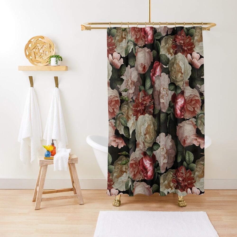 Antique Jan Davidsz. de Heem Lush Roses Flowers On Black Pattern Shower Curtain