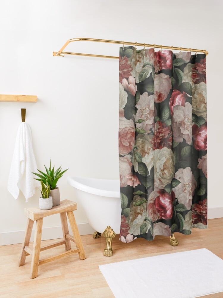 Alternate view of Antique Jan Davidsz. de Heem Lush Roses Flowers On Black Pattern Shower Curtain