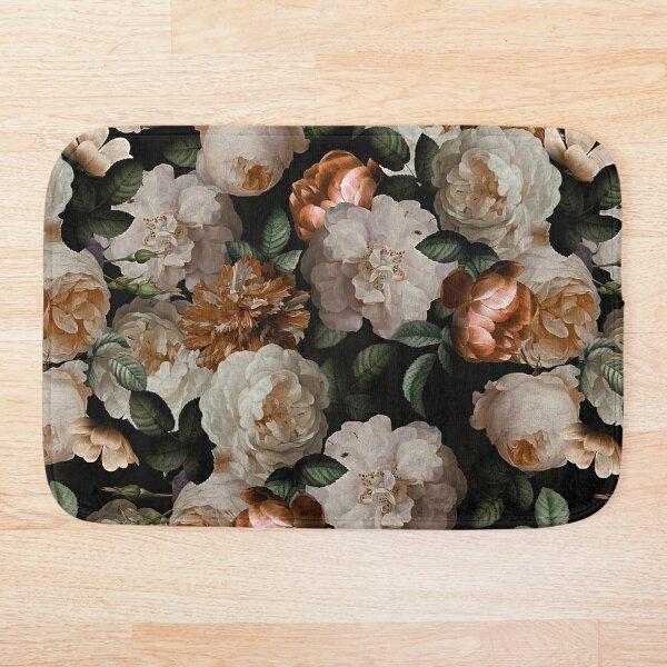 Antique Jan Davidsz. de Heem Lush Roses Flowers On Black Pattern Bath Mat