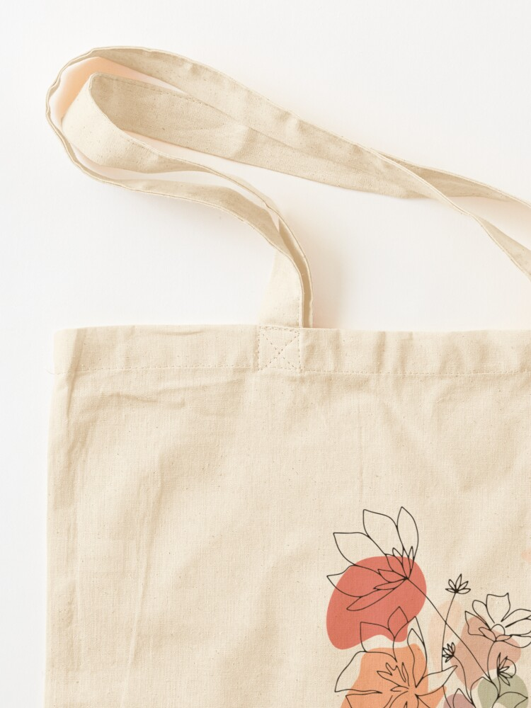 Alternate view of Abstract Line Art Woman With Flowers Tote Bag