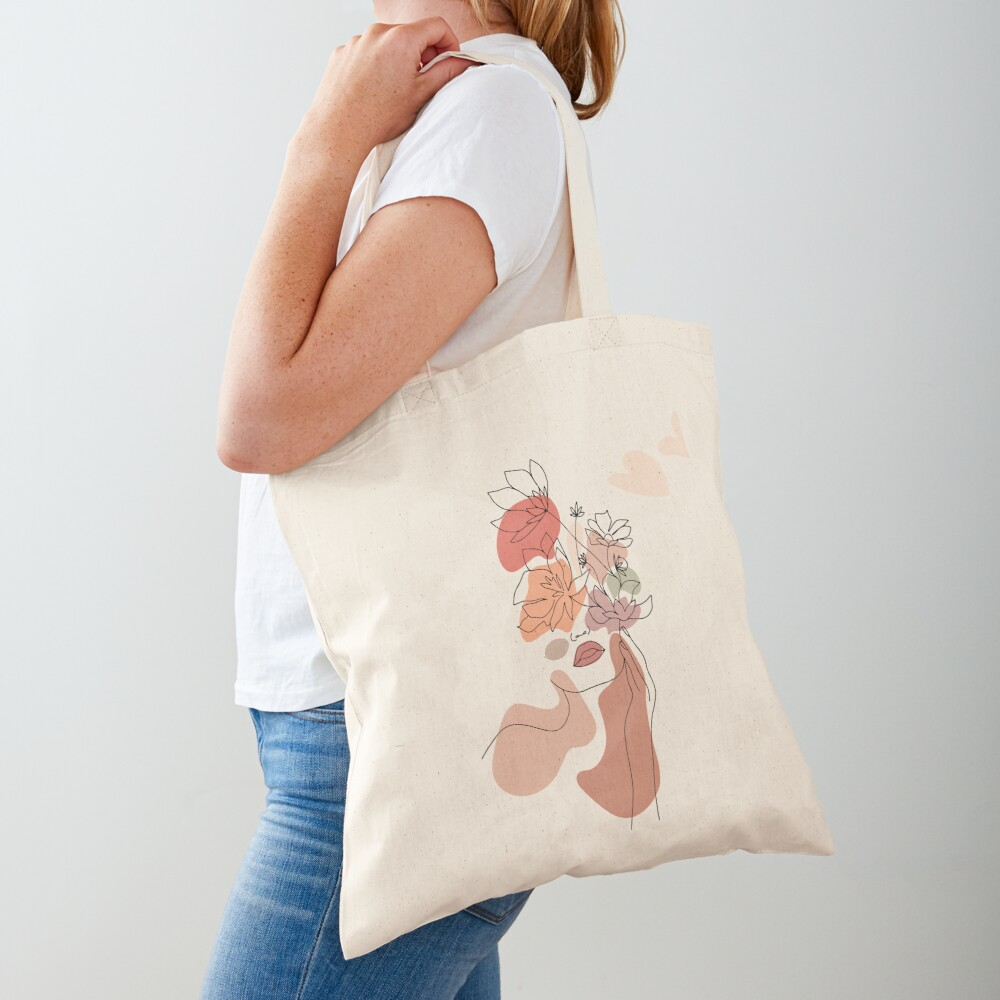 Abstract Line Art Woman With Flowers Tote Bag