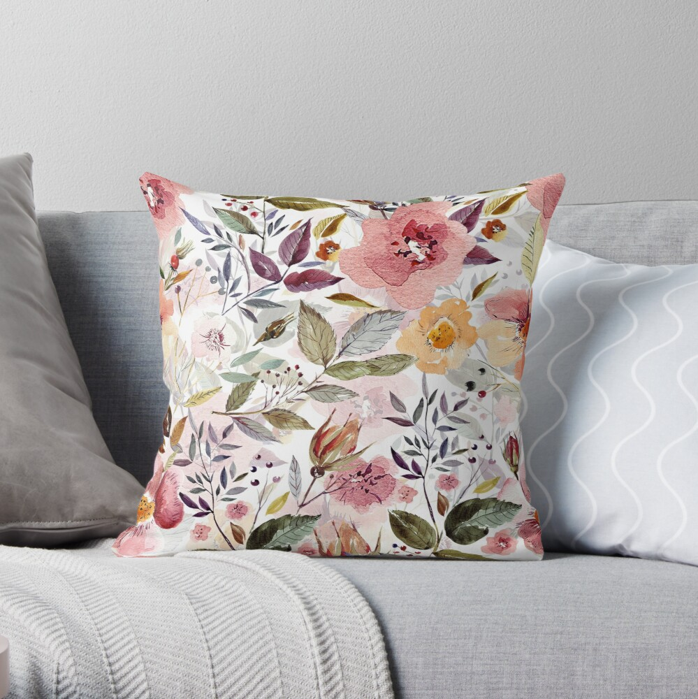 Forest Watercolor flowers Throw Pillow
