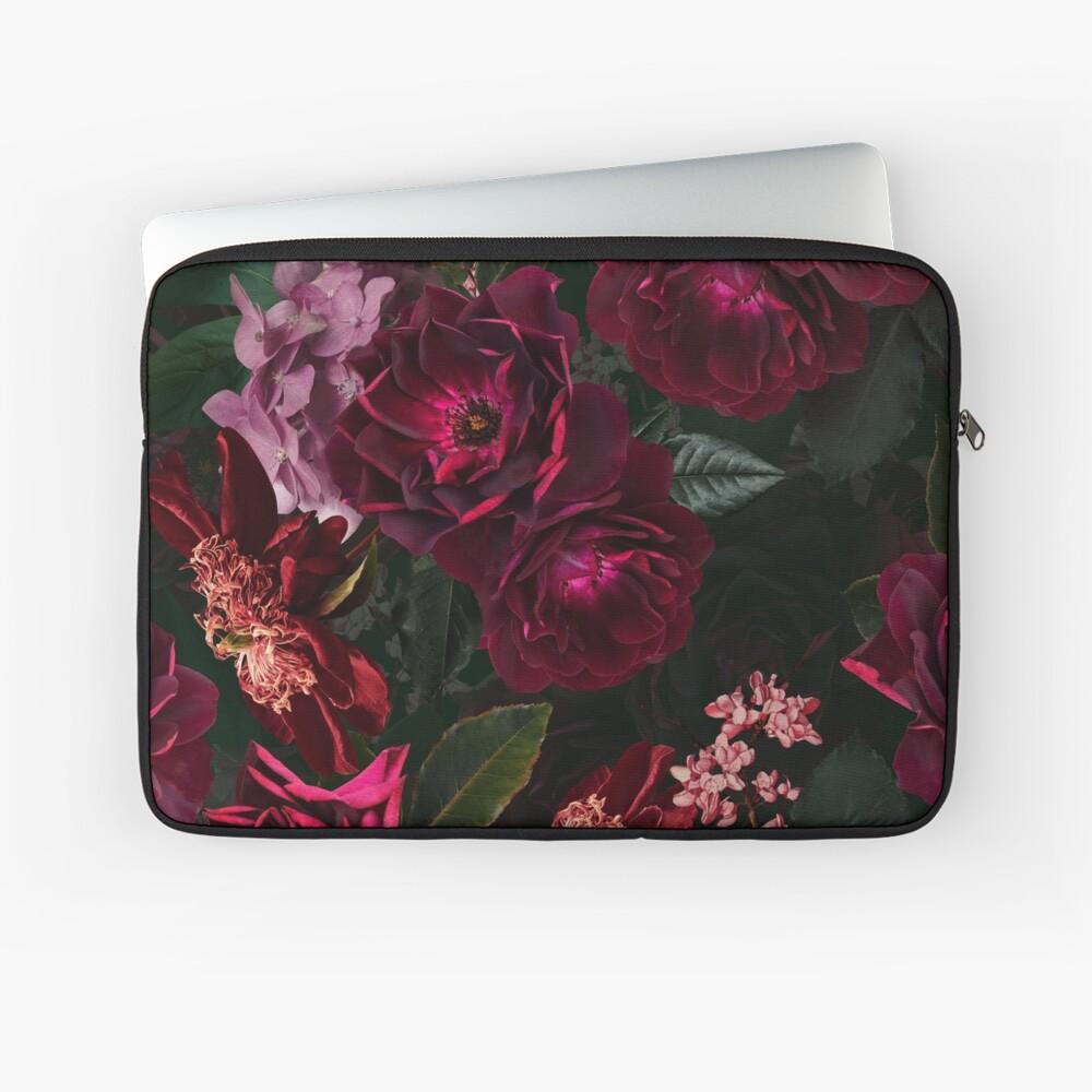 Antique Midnight Botanical Flower Rose Garden Laptop Sleeve