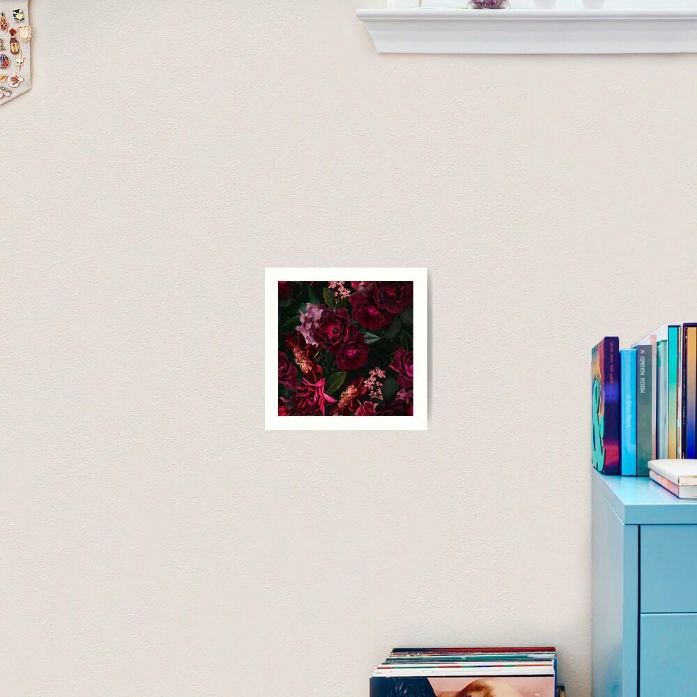Antique Midnight Botanical Flower Rose Garden Art Print
