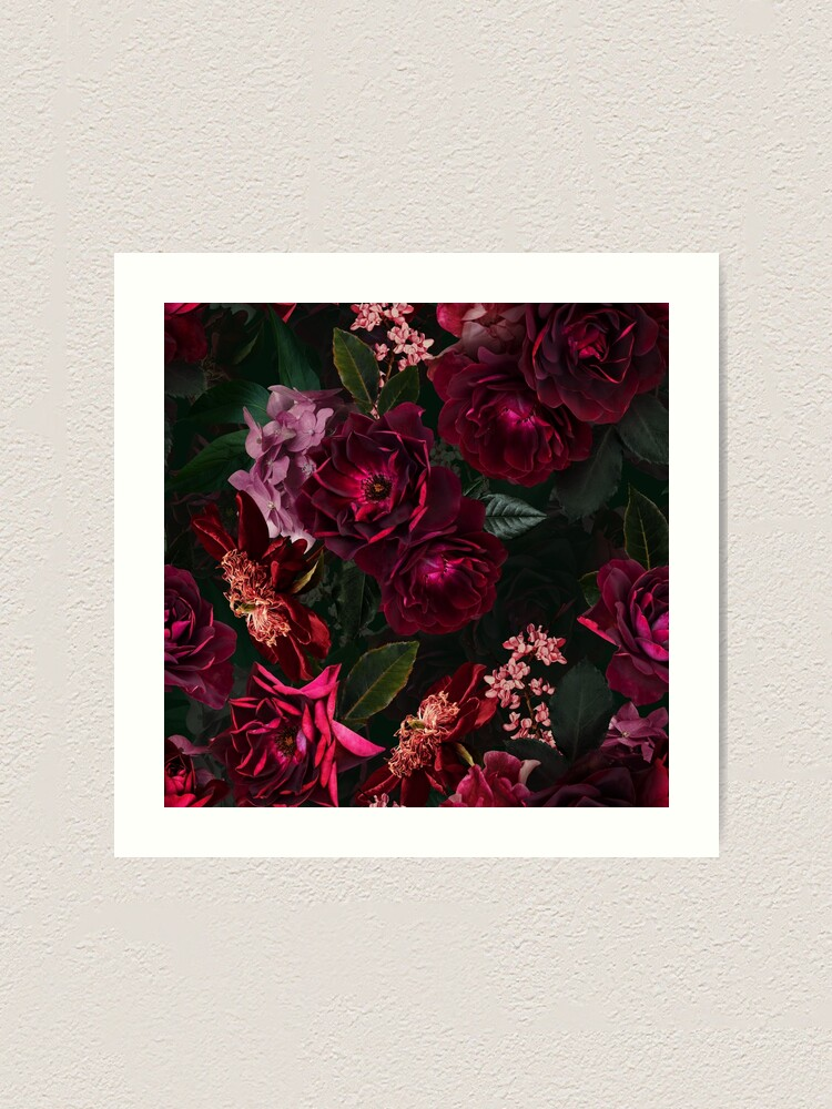 Alternate view of Antique Midnight Botanical Flower Rose Garden Art Print