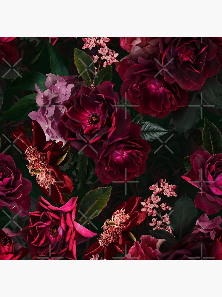 Antique Midnight Botanical Flower Rose Garden by UtArt