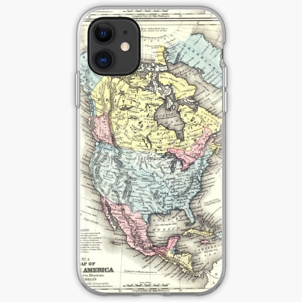 Old World Map of North America iPhone Soft Case
