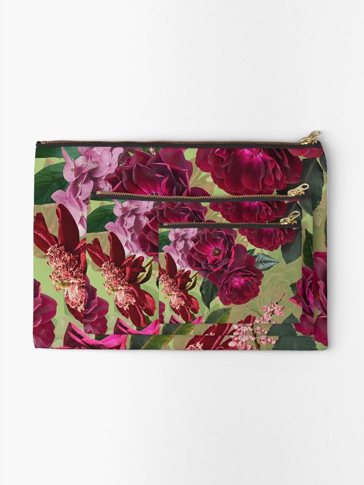 Alternate view of Antique Green Botanical Flower Rose Garden Zipper Pouch