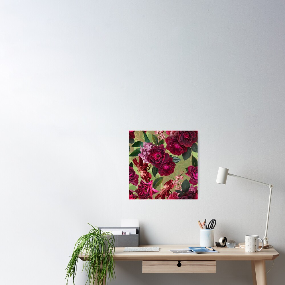Antique Green Botanical Flower Rose Garden Poster