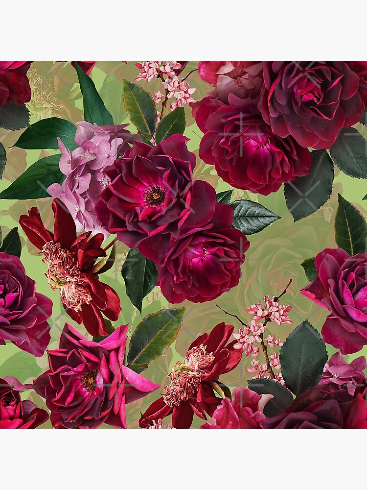 Antique Green Botanical Flower Rose Garden by UtArt